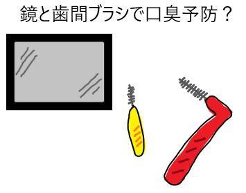 鏡と歯間ブラシで口臭予防